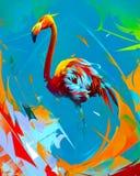 Målad ljus flamingofågel på abstrakt bakgrund vektor illustrationer