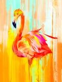 Målad ljus flamingofågel på sidan stock illustrationer