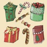 Målad nytt års- och juluppsättning royaltyfri illustrationer