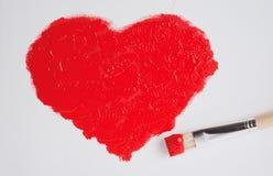 Målad röd hjärta Fotografering för Bildbyråer