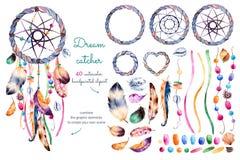 Målad samling för vattenfärg hand med 40 beståndsdelar vektor illustrationer