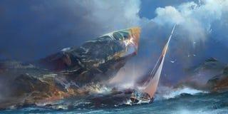 Målad seascape, stormen och en yacht Royaltyfri Bild