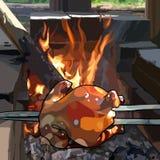 Målad stekt kyckling på en steknål förbereder sig över brand royaltyfri illustrationer