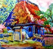 målad stuga Arkivbild