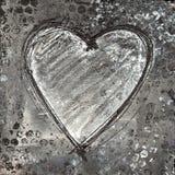 målad svart grå hjärta vektor illustrationer