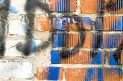 Målad tegelstenvägg Royaltyfri Bild
