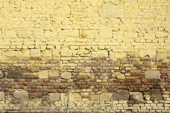 Målad tegelstenvägg med tappningblick Fotografering för Bildbyråer