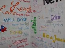 Målad vägg för Centrumhusvandrarhem konst Royaltyfri Fotografi