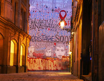 Målad vägg- vägg i Bryssel arkivfoto