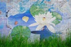 Målad väggmålning - Lotus Flower Royaltyfri Fotografi