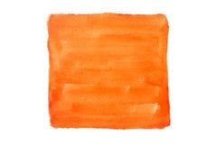 Målad vattenfärg för apelsin fyrkant på vit bakgrund Arkivbilder