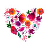 Målad vattenfärgblommahjärta Målad hjärta Vattenfärghjärta som göras av blommor Perfekt valentindaghjärta Arkivbilder