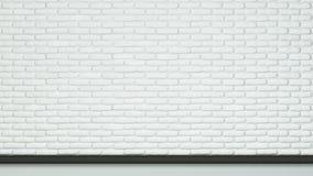 Målad vit färgtegelsten av väggen och golvet Fotografering för Bildbyråer