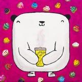 Målad vit nallebjörn med kaffe och muffin Arkivfoto