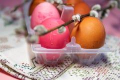 Målade ägg för påsken, rosa, beige som målas i lökskal Pil vår, handduk med prydnader semestrar h?rliga easter f?r bakgrund ?gg f arkivbild