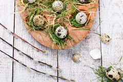 Målade ägg och blommor Fotografering för Bildbyråer