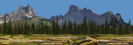 Målade bakgrunden ett berglandskap med pinjeskogen Arkivfoton