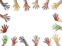 målade barnhänder Royaltyfria Foton