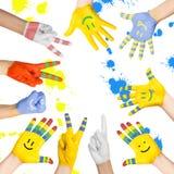 Målade barns händer Royaltyfria Bilder
