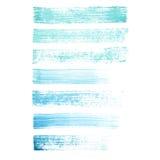 Målade blått för vektorn slår handen och turkosgrungeborsten texturer Royaltyfri Foto