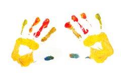 målade childshänder fotografering för bildbyråer