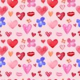 Målade den sömlösa modellen för den gulliga vattenfärgen med handen hjärtor på rosa bakgrund Förälskelsesymboluppsättning för val vektor illustrationer