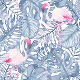 Målade den tropiska sömlösa modellhanden för vattenfärgen den rosa flamingo, och sidor av indigoblått gömma i handflatan monstera Royaltyfri Bild