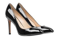 Målade glansiga skor för kvinnor svart Royaltyfria Foton
