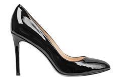 Målade glansiga skor för kvinnor svart Arkivbilder