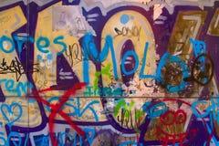 Målade grafitti eller samkopiering royaltyfria foton