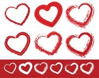 Målade hjärtaformer Uppsättning av 6 olika grungy konturlinjer av vektor illustrationer