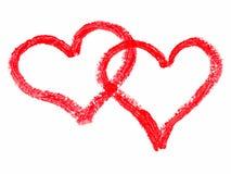 målade hjärtor Arkivbild