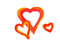 målade hjärtor Arkivfoto