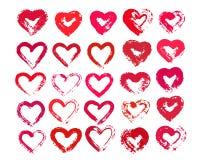 Målade hjärtor från Grungeborsteslaglängder Arkivfoton