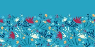 Målade horisontalabstrakt begreppblommor och växter stock illustrationer