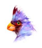 Målade ljusa fåglar på en vit bakgrund Fotografering för Bildbyråer