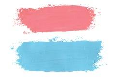 Målade olje- grungy borsteslaglängder för rosa färger och för blått på vit bakgrund stock illustrationer