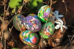 Målade påskägg som döljas på gräset som är klart för leken för lek för jakt för easter ägg den traditionella Arkivfoton