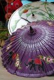 målade paraplyer Arkivfoton