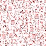 Målade sömlös textur för jul med de röda julobjekten som gjordes i handen, stil fotografering för bildbyråer