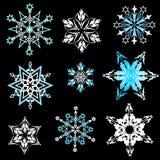 målade set snowflakes för julsamling festlig hand Royaltyfri Fotografi