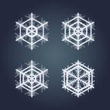 målade set snowflakes för julsamling festlig hand Arkivfoton