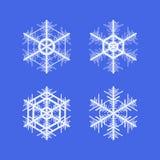 målade set snowflakes för julsamling festlig hand Royaltyfria Bilder