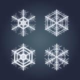 målade set snowflakes för julsamling festlig hand Arkivfoto