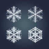 målade set snowflakes för julsamling festlig hand Fotografering för Bildbyråer