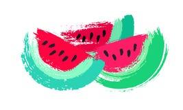 Målade vattenmelonskivor Arkivbild