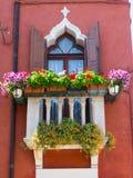 Målade Windows i burano Royaltyfria Bilder