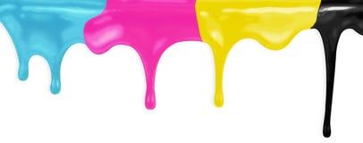 Målar den cyan magentafärgade gulingsvarten för CMYK med den snabba banan Royaltyfria Bilder