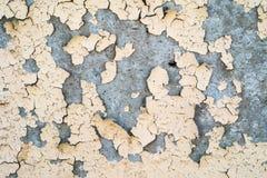 Målar den texturerade sjaskiga väggen för sprucken gammal väggfärgmålarfärg och skalningsfärg skadat royaltyfri bild