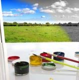 målare för begreppsliggandemålarfärg till Royaltyfria Foton